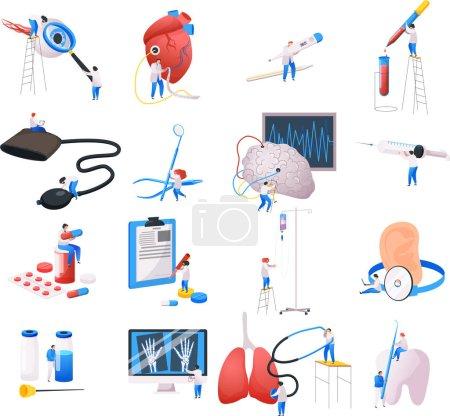 Illustration pour Ensemble d'icônes plates isolées de centre médical avec des images de fournitures médicales matériel de laboratoire ane personnes illustration vectorielle - image libre de droit