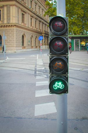 Traffic lights for bicycles with the green light on in Vienna