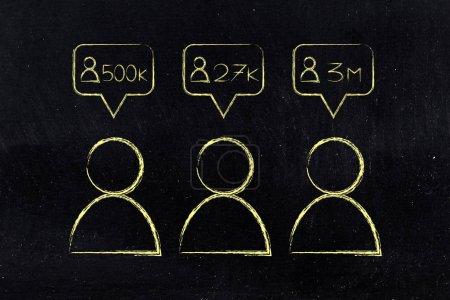 Photo pour Concept des influenceurs des médias sociaux : les utilisateurs avec des icônes de grands comptes de follower - image libre de droit