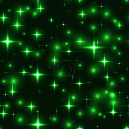 seamless background with green stars and blurs