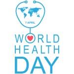 World Health Day flat greeting card, vector illust...