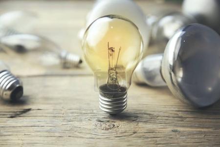 light bulb on table