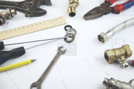 architecture, building, construction, real estate and home concept -  repair tools