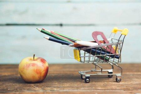 stationery on shopping cart