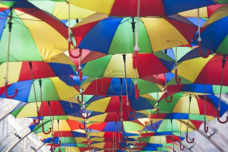 colorful umbrellas on street for decoration.