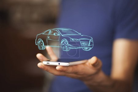 Photo for Car insurance and car services concept. Businessman with  icon of car. - Royalty Free Image