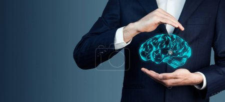 man's hands and brain