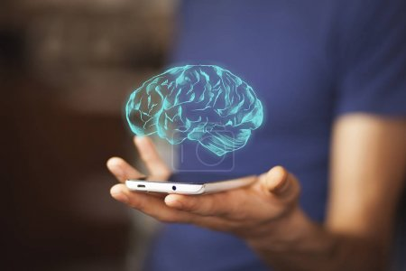 hand with phone and brain