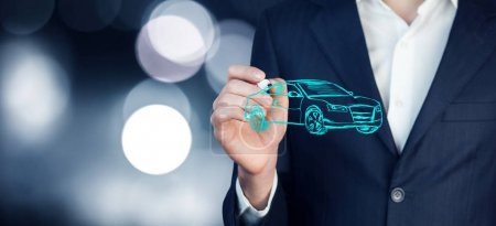 Businessman drawing  icon of car
