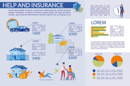 Help and Insurance, Compensation Infographic Set.