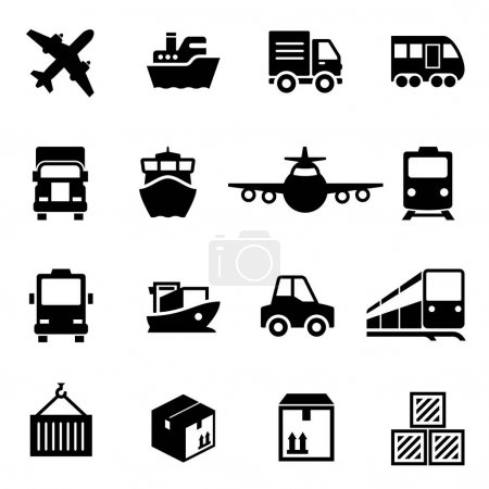 Shipping and logistics deliver icons