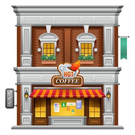 Facade of a coffee shop store or cafe