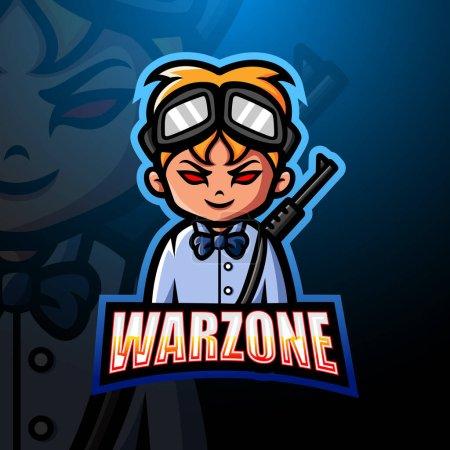 Illustration pour Illustration vectorielle de la mascotte Warzone esport logo design - image libre de droit