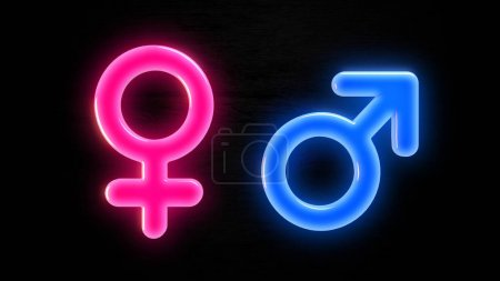 Photo for Male female gender symbol in pink and blue with a black background as a three dimensional render - Royalty Free Image