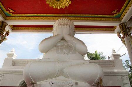 White fat buddha statue hand blind eye or see no evil buddhas st