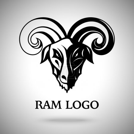 Vector dark ram goat head with horns, template for logo, badge, label etc