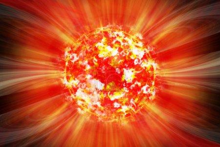 Photo pour Tempête solaire extrême, éruptions solaires. Rayons de soleil de la lumière du soleil. Fond de lumière du soleil orange. Soleil lumineux lumineux avec effet de lumière, soleil avec éclat de lentille. Illustration 3d - image libre de droit
