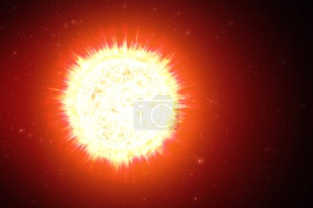 Photo for Close up view of a burning sun in space. Fiery planet. Hot planet. The Sun from space showing all they beauty. Extremely sun. Coronary Emissions and Prominences on the Sun in Space. 3D illustration. - Royalty Free Image