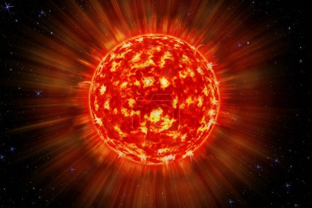 Photo for The power of the sun in the space with Plasma Background. An image of a detailed sun in space. Star, solar storm. 3d illustration - Royalty Free Image