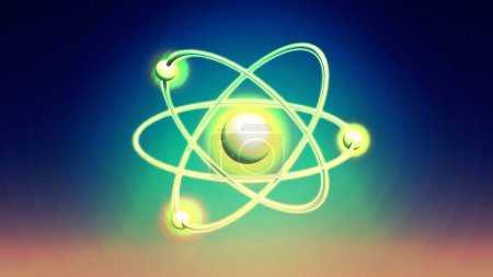 Atom Backgrounds from Geometric Shapes, Circle of Points of Lines. Atom nuclear model on energetic background. 3D illustration