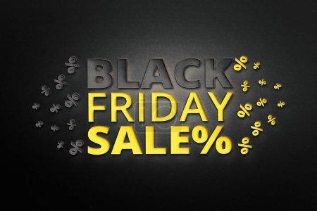 Photo pour Vente Black Friday et modèle de conception d'inscription discount sur fond de papier. bannière pour les magasins, web. Illustration 3D . - image libre de droit