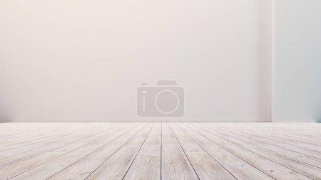 Photo pour Plancher vide avec murs blancs et plancher. Studio vide dégradé utilisé pour l'arrière-plan et afficher votre produit. Illustration 3d - image libre de droit