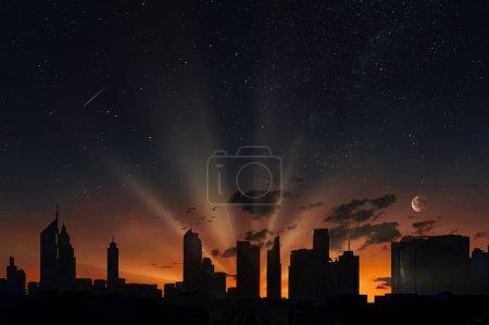 Photo pour Coucher de soleil fantastique dans la ville de Dubaï - image libre de droit