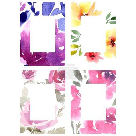 Photo pour Carte avec aquarelle fleurs illustration - image libre de droit