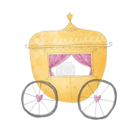 Princess carriage cute illustration