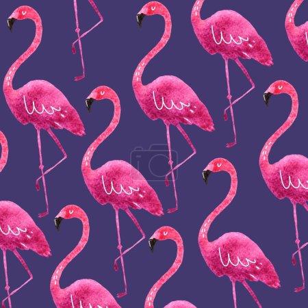 Pink flamingo watercolor print