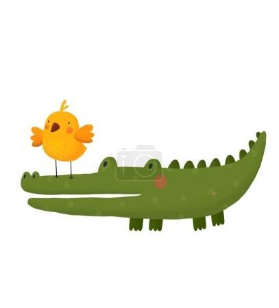 Card with cute cartoon crocodile and bird