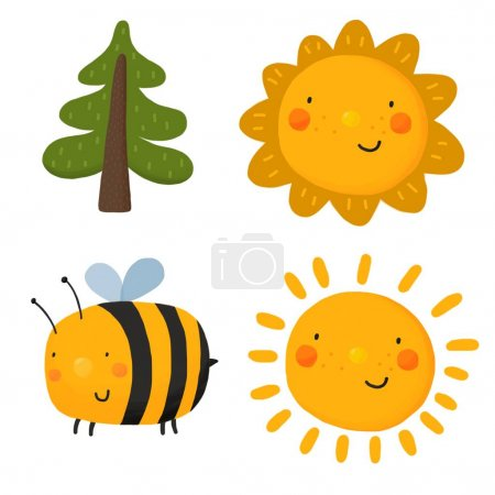 Cartoon suns, tree and bee