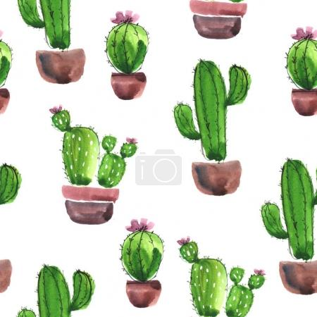 Watercolor cactuses pattern