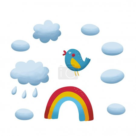 bird, rainbow and clouds in the sky