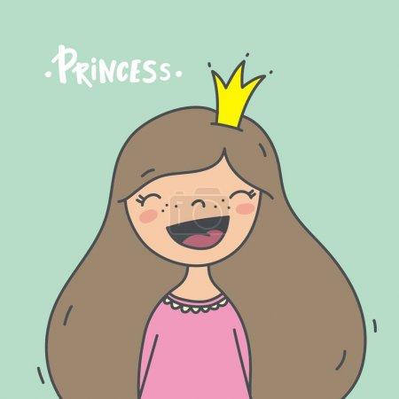 Illustration pour Mignon imprimé avec illustration princesse - image libre de droit