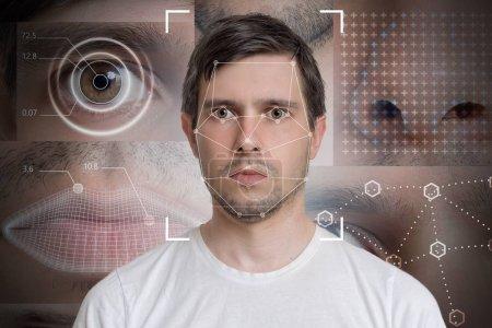 Photo pour Détection du visage et reconnaissance de l'homme. Concept de vision informatique et d'apprentissage automatique . - image libre de droit