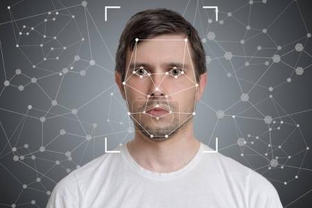 Photo pour Détection du visage et reconnaissance de l'homme. Vision par ordinateur et concept d'intelligence artificielle . - image libre de droit