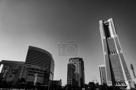 Photo for Yokohama Minato Mirai skyline (monochrome) - Royalty Free Image