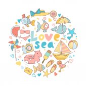 Vector shape of circle with cute cartoon summer icons and text love sea stars fishes ships and other sea beach elements
