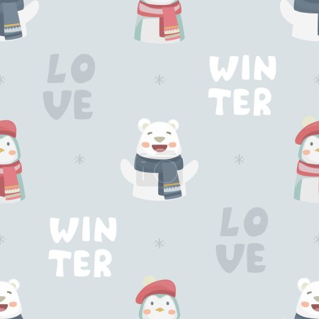 White happy cute bear and penguins