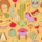 Vector cartoon funny mexican icons with faces masks skull and other traditional elements on separate layers