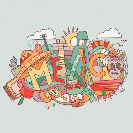 illustration with Mexico and different traditional elements