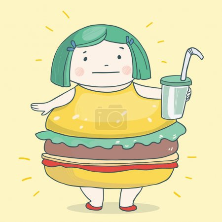 cartoon girl in hamburger dress