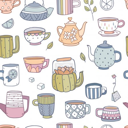 Seamless pattern of teapots and cups