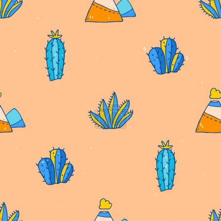 Cartoon pattern with cactuses