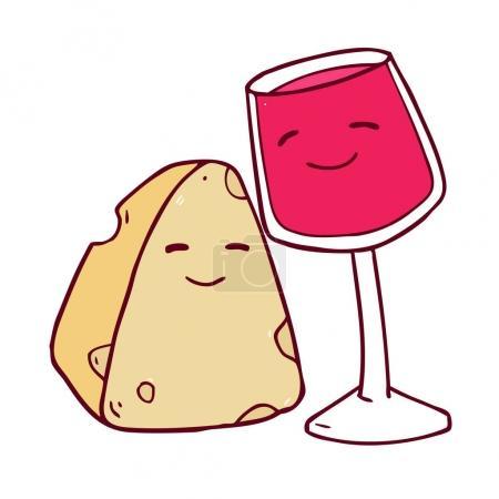 cartoon cheese and wine