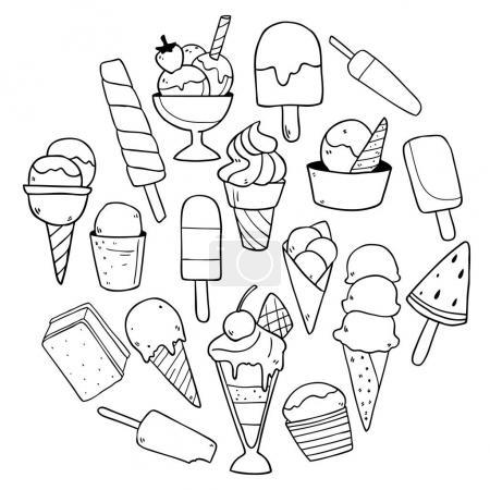 Illustration pour Beau modèle de crèmes glacées dessinées à la main mignon, illustration vectorielle - image libre de droit