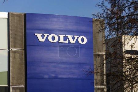 Volvo car logo in front