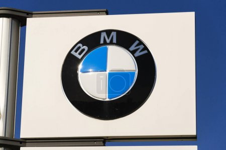 BMW car company logo in front of dealership building on March 31, 2017 in Prague, Czech republic. UK BMW workers back strike over pensions.
