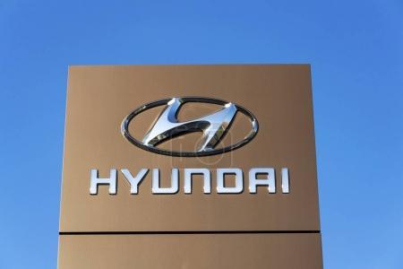 Hyundai company logo in front